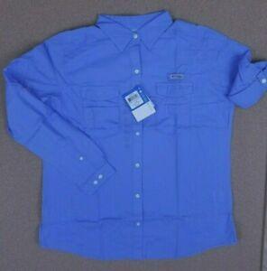 NWT-Women-039-s-Large-Columbia-PFG-Bonehead-II-L-S-Fishing-Shirt-Long-Sleeve-Blue-L