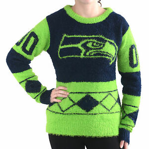 meet 7e732 e22ce Details about Seattle Seahawks Women Eyelash Crew Ugly Christmas Sweater  Klew NEW