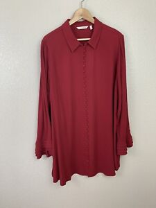 Soft Surroundings Womens 1X Poet Sleeve Button Down Tunic Top Red Long Sleeves