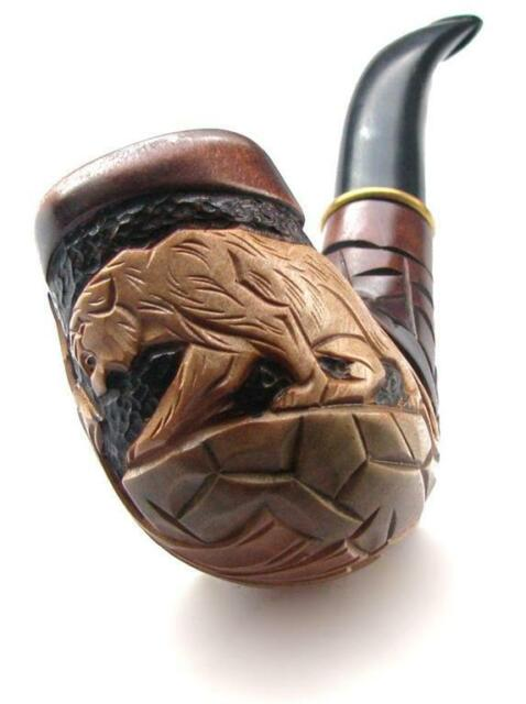 Hand carved TOBACCO SMOKING PIPE  * Panther * for 9 mm filter Wooden Pipes