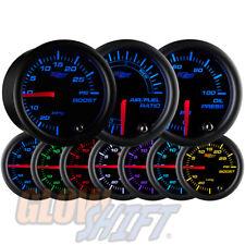 GlowShift 52mm Black 7 Color 30PSI Boost + 100PSI Oil Pressure + AFR Gauge Set