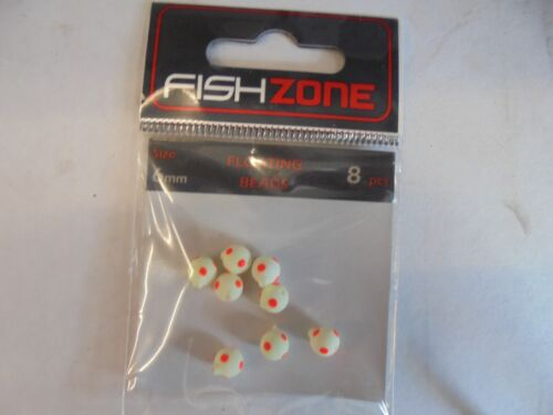FISHZONE Flottant Perles Lumi White Dot 10 mm 8per Pack.