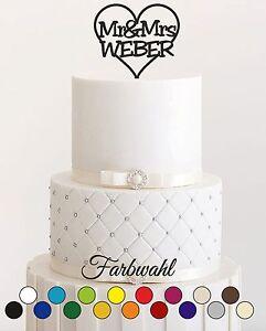 personalisiert Wunschnamen Tortenstecker Hochzeit Cake Topper Acrylglas NEU