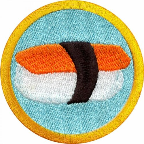 Sushi Eating Merit Badge Embroidered Iron-on Patch