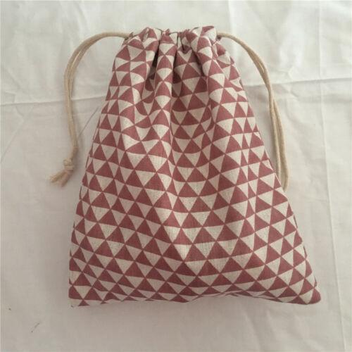 1pc Cotton Drawstring Multi-purpose Pouch Party Gift Bag Pink Mini Triangle E