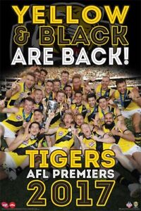 AFL-2017-Premiers-Richmond-Tigers-POSTER-61x91cm-NEW-Yellow-amp-Black-Are-Back