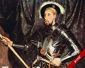 Knight In Armor Sir Nicholas Carew Painting British Art Real Canvas