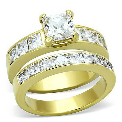 Princess Cut Wedding Ring Set CZ 14k Gold Plated Stainless Steel Womens Sz 5-11
