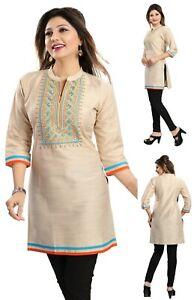 Women-Indian-Embroidery-Beige-3-4-Sleeves-Kurti-Tunic-Kurta-Shirt-Dress-MK133