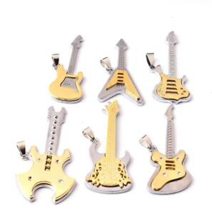 New-Fashion-Rock-Punk-Man-Charm-Stainless-Steel-Guitar-Pendant-Necklace-Jewelry