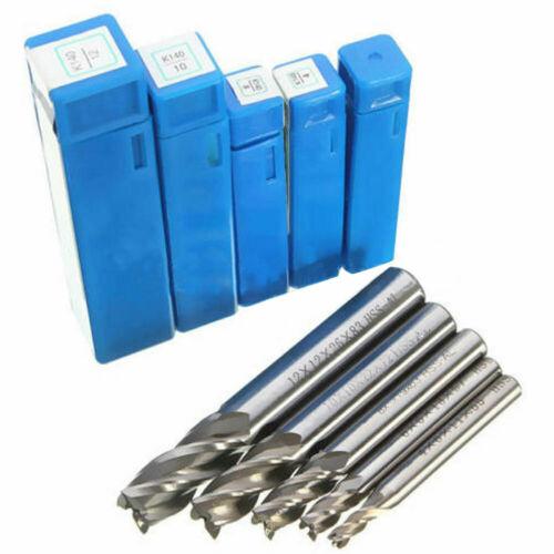 5Pcs 4//6//8//10//12mm HSS Straight Shank 4 Flute Endmill Milling Cutter Drill Bit