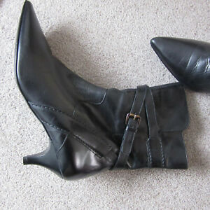 Ladies Boots Size 6 Black Leather By