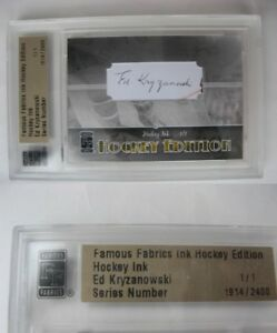 2010 Famous Fabrics Ed Kryzanowski 1/1 auto 1 of 1 autograph RIP Boston Bruins