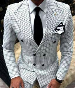 Designer-Zweireiher-Herrenanzug-Schwarz-Weiss-Kariert-Anzug-Tailliert-Slim-Fit-48