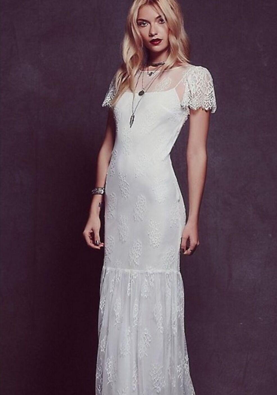 Sällsynta fria människor Vita Sophia Lace bröllop Gown Maxi Dress Storlek Medium  500.
