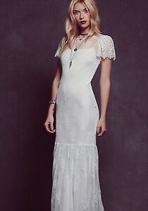Image Is Loading Rare Free People White Sophia Lace Wedding Gown