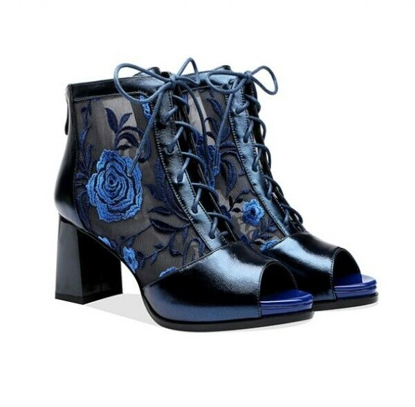 Hollow Peep Toe Toe Toe Back Zip Cross Strappy Sandals Ankle Boots High Block Heel shoes 4fb27a