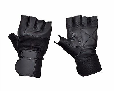 FITNESS LEATHER GLOVES PADDED BODY BUILDING GYM STRAPS WEIGHT LIFTING TRAINING