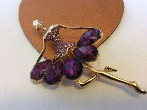 Ballerina Brooch purple crystal Dancer girl Pin approx 80x50mm UK SELLER