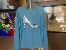 New Disney Cinderella Princess Knit Long Sleeve Sweater Juniors Women's Blue SM