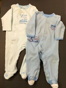Little-Me-Lot-of-2-Baby-Boys-Footed-Sleepers-9-mo-100-Cotton-Knit-One-Piece