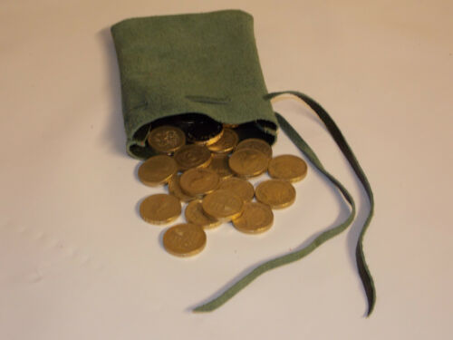 Medieval//Larp//SCA//Pagan//Reenactment Green Leather DRAWSTRING MONEY POUCH// BAG