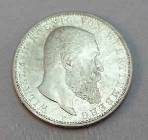 Silbermuenze-5-Mark-DR-Muenze-Silber-Wilhelm-II-von-Wuerttemberg-1895-034-F-034