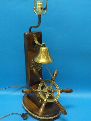 Vintage 60 S Nautical Wood Ship Wheel Table Lamp 33 Ebay