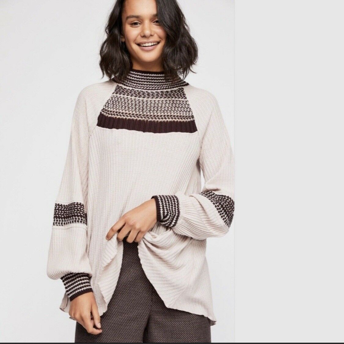 NWT FREE PEOPLE Snow Day Thermal Top Mauve Combo Large L Retail  NEW