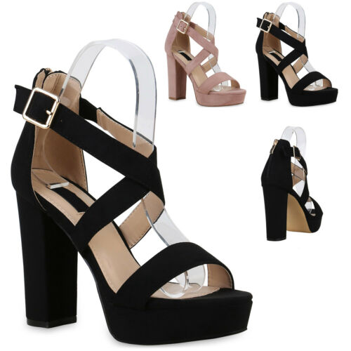 Damen Abiball Plateau Sandaletten Hochzeit Party High Heels 830046 Trendy Neu