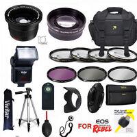 Canon Eos Rebel T3 T3i T5 Sl1 Complete Pro Hd Kit Tripod Flash Lenses Filters