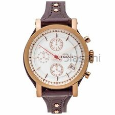 Fossil Original ES3616 Women's Boyfriend Raisin Leather Watch 38mm Chronograph