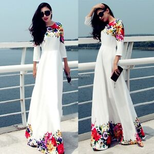 4fa8bd08ecc Details about Summer Women Boho Floral Cocktail Party Evening Long Maxi  Dress Chiffon Dresses