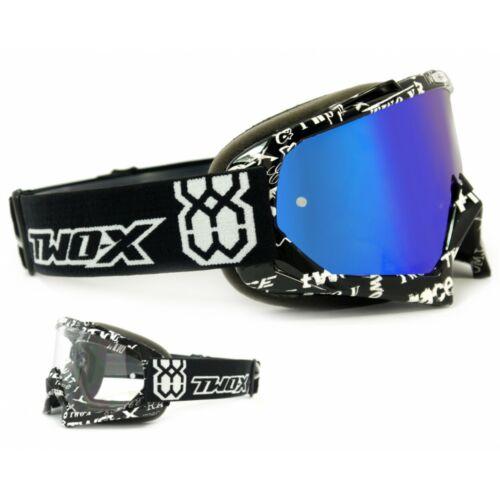 TWO-X Race Crossbrille MX Cross Enduro Lunettes texte glace polie miroir bleu