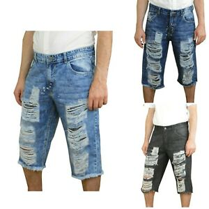 Men Distressed Denim Shorts Ripped Biker Jeans Casual Holes Pants Summer Short