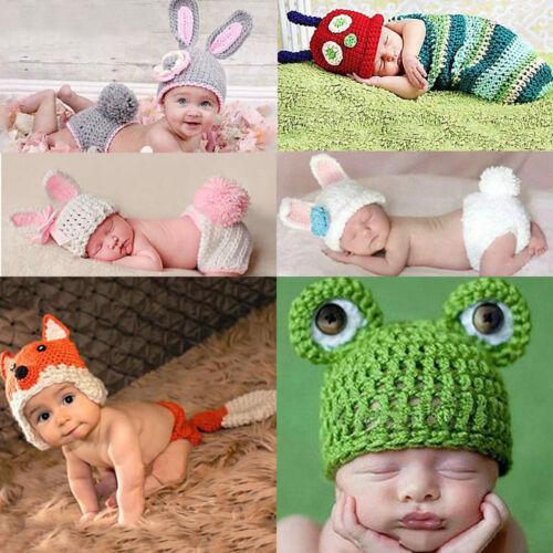 Neugeborenes Baby Kids gehäkelt Strickkostüm Fotografie Foto Prop O VNL