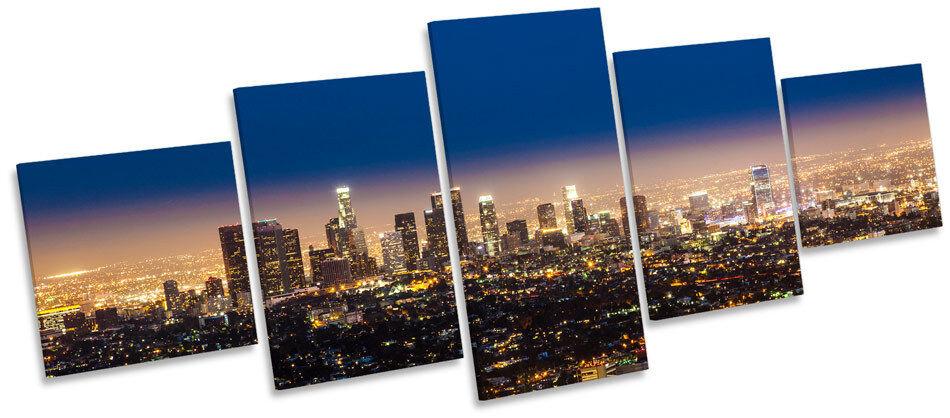 Los angeles city skyline nuit multi toile murale art box cadre imprimé