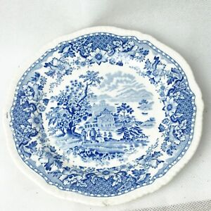 VINTAGE-SEAFORTH-WOODS-WARE-BLUE-AND-WHITE-SIDE-PLATE-SANDWICH-PLATE