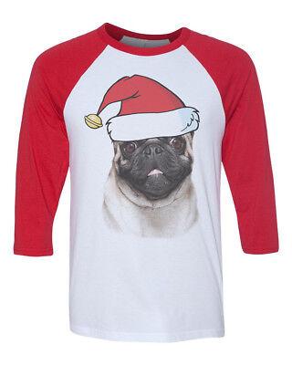 Unisex Merry Christmas Pug B1486 White//Red C5 Baseball T Shirt Xmas Dog Holiday