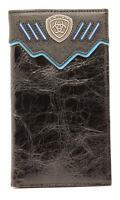 Ariat Western Mens Wallet Leather Rodeo Overlay Ariat Concho Black A3520801