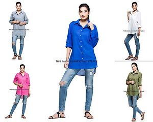 909c8ae4a2c Women's Indian Long Sleeve Cotton Tops Casual Loose Solid Shirt ...