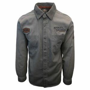 Harley-Davidson-Men-039-s-Grey-Iron-Block-L-S-Woven-Shirt