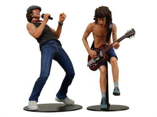 AC DC Angus Young y Brian Johnson 7  pulgadas acción figuras Juguetes nuevo en caja rara