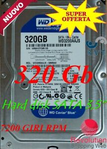 "HARD DISK 320GB 7200 RPM SATA 3.5"" Interno Per DVR CCTV PC CCTV 32Mb BUFFER"