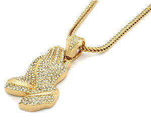 Mens 14k Gold Plated 36 Quot Franco Chain 6 God Prayer Hands