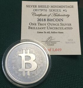 Details about 1 oz 2018 Bitcoin BU - Crypto Series #1 Silver Shield 999  Bitcoin Blockchain AG