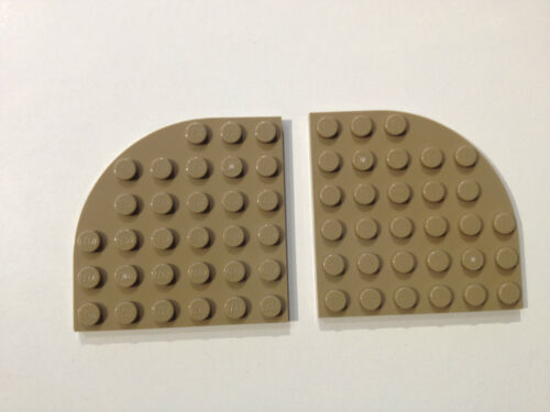 LEGO ® 2 x quart de cercle plaque 6x6 Foncé Beige Neuf 6003