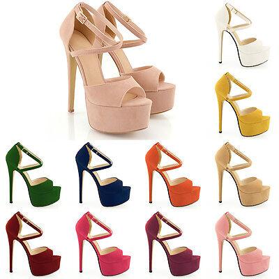 Womens Peep Toe Strappy Platform Faux Suede High Heel Sandal Shoes Size UK 2-9