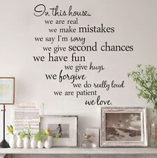 IN THIS HOUSE RULES MURAL DECAL DECOR BLACK WALL ART REMOVABLE QUOTE STICKER UK