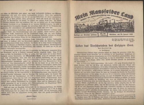 Mansfelder Land Blätter  1932  das Verschwinden des salzigen Sees Röblingen ...